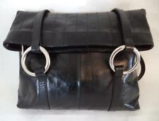 LISA KAY SHINY BLACK LEATHER HANDBAG FOLDING SHOULDER BAG