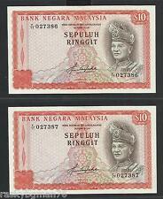 Malaysia RM10 4th series prefix F/77 - AUNC condition