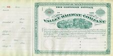 USA VALLEY RAILWAY COMPANY stock certificate