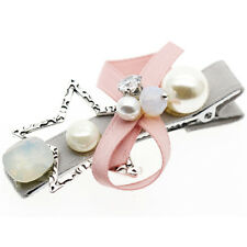 Star Bow Knot Pink Pearl Diamante Baby Girl Slide Hair Clip Accessories HA291