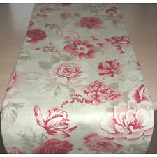 "NEW 120cm Coffee Table Runner 4ft Pink Ivory Cream Taupe Beige Roses 48"" Floral"