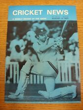 13/08/1977 Cricket News: Vol.01 No.15 - A Weekly Review Of The Game. Any faults