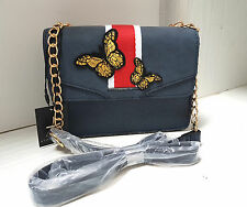 BNWT Lovely Atmosphere Small Hand Bag Navy Blue Butterfly Embroidery Details