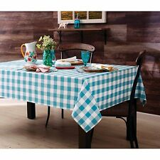 THE PIONEER WOMAN Charming Check Yarn Died Woven Teal Blue Tablecloth 60 x 120