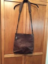 Henry Cuir Beguelin Large Distressed Brown Cross Body Bag w Leather Cord Strap