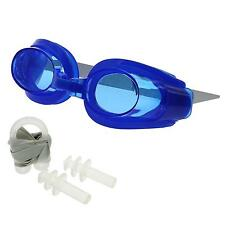 Blue Professional Swimming Diving Swim Goggles Glasses+ Earplugs + Nose Clip Set
