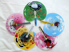 3 COLOR CARTOON FOLDING PAPER HAND FAN CHINESE JAPANESE BIRTHDAY CHILDREN PARTY