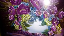 Original Oil Painting of China Pot with Purple Flowers / Abstract Seascape Scene