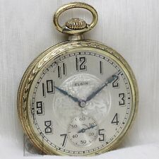 Gold 1927 ELGIN Mechanical Pocket Watch Large 16s Antique USA Grade 291 Two Tone