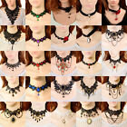 Fashion Goth Women's Crystal Black Lace Chain Pendant Choker Bib Necklace Party