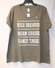 NEW WOMENS PLUS SIZE 3X RULE BREAKER CHANCE TAKER DREAM CHASER TEE SHIRT TOP