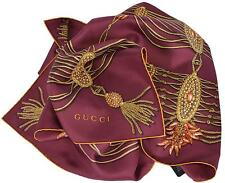 New Gucci 325751 Bordeaux Red Golden Chain Silk Twill Square Scarf 35 x 35