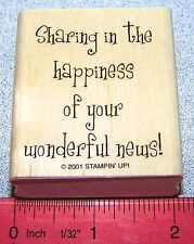 Stampin Up Cheery Chat Stamp Sharing in the happiness of your wonderful news