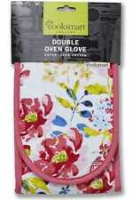Cook Smart Double Oven Gloves Pure Cotton Christmas Floral Romance Insulated New