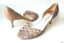 new $675 JIMMY CHOO beige/taupe shimmering open-toe JEWELED shoes 43 13 - great