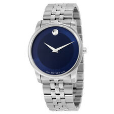 Movado Museum Quartz Metallic Blue Dial Stainless Steel Mens Watch 0606982