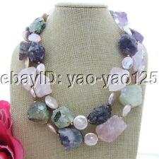 "S091503 19"" 2 Strands Pink Coin Pearl Multi Rough Gemstone Necklace"