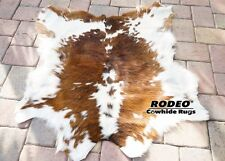 Hairy super soft beautiful Brown& White Rodeo Calf skin rug 3' X3' Best Quality