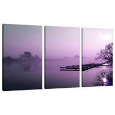 Triptych Triple 3 Canvas Purple Landscapes Wall Art Pictures Set 3119