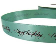 """2 Yds Happy Birthday Teal Double Faced Satin Ribbon 7/8""""W"""