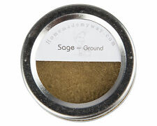 Ground Sage 1 oz in a Magnetic Spice Tin with Clear Top & Shaker Lid Food Grade