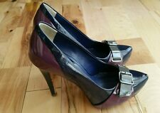 ALDO Black Purple Shoes Size 36 EUR 3.5 UK 5.5 US Court Leather 4.5 inch Heel