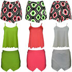 Ladies Neon Aztec Print Wrap Skirt Mini Hot Pants Shorts Skort Culottes Vests