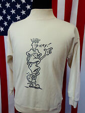 Vtg 80s Fido Dido Sweatshirt mens LARGE or MEDIUM Normcore Mock Turtleneck Shirt