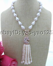 S030413 Natural 18MM White Keshi Pearl&Rhinestone Pendant Necklace