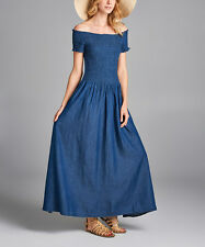 Denim Blue Off Shoulder Maxi Dress NWT Size M
