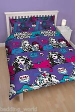 DOUBLE BED MONSTER HIGH BEASTIES DUVET COVER SET BLACK PURPLE PINK SKULLS SCARY