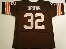 Cleveland Browns Jim Brown UNSIGNED CUSTOM Brown Jersey - XL