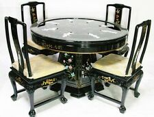 Oriental dining room set dinettes furniture Black lacquer mother of pearl