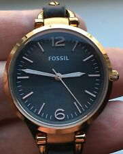 LADIES FOSSIL ES-3077  BLACK LEATHER STRAP WATCH