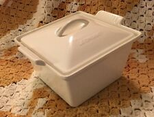 LE CREUSET FRANCE CAST IRON SQUARE CASSEROLE PAN - WHITE - NEVER USED