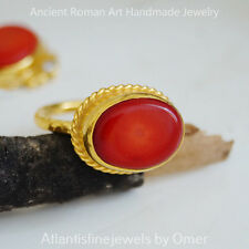 RED CORAL STERLING SILVER RING HAND FORGED BY OMER 24K GOLD PLATED HANDMADE