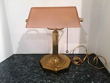 Vintage Brass Bankers Desk Lamp w/ Rare Pink Ribbed Glass Shade Octagon Base