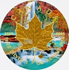 2017 1oz Silver Maple Leaf WATERFALL Coin. With 24KT  Gold Gilded