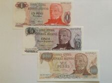 Argentina banknote lot. 1, 5, 1000 pesos. Uncirculated