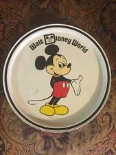 1970's WALT DISNEY WORLD MICKEY MOUSE metal tin tray plate platter - Vintage