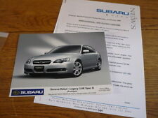 SUBARU LEGACY 3.0R SPEC B ORIGINAL PRESS RLEASE & PHOTO