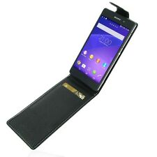 Pdair Black Leather Flip Top Case Cover for Sony Xperia Z2 - FREE Car Charger