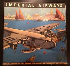 IMPERIAL AIRWAYS 1930's VINTAGE POSTER BROCHURE EARLY AVIATION PLANES TIMETABLES