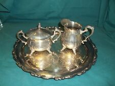 Leonard Silverplate 3 Piece Creamer - Sugar - Tray