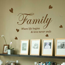 Family Where Life Begins Love Heart Art Wall Quote Stickers Wall Decals 13