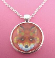 Raccoon Triangle Design Silver Pendant Glass Necklace New in Gift Bag Animal