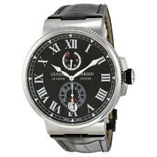 Ulysse Nardin Marine Automatic Black Dial Black Leather Mens Watch 1183-122-42-V