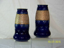 Royal Doulton Pair of Antique Art Nouveau High Gloss Blue Gold Glazed Vases