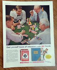 1956 Bicycle Congress Playing Cards Ad Deal Hours Relaxation w/ 52 Friends