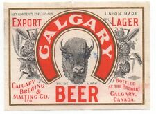 Beautiful Old Calgary Beer Canada Label with Buffalo